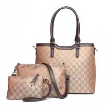 LT1749-18M BN Miss LuLu Elegante Designer Handtasche Tasche 3PCs Braun