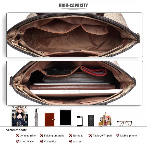 LT1749-18M BN Miss LuLu Elegant Designer Handbag Tote Bag 3PCs Brown