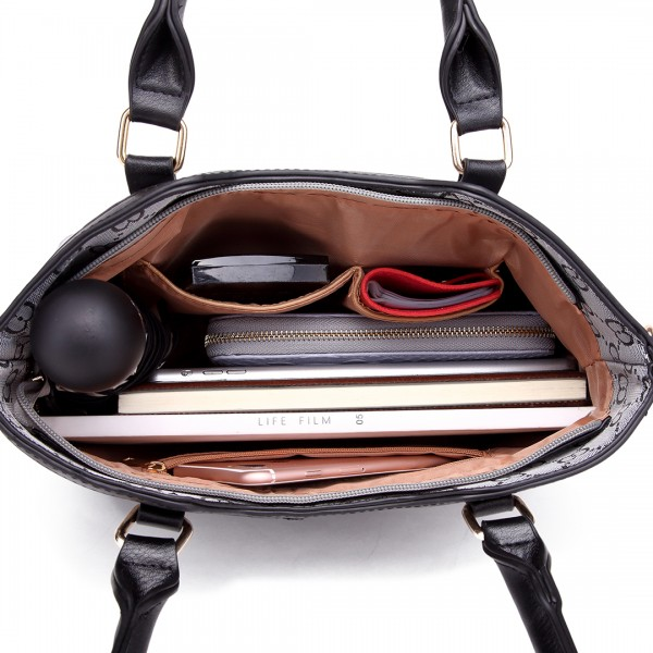 LT1749 GY - Miss Lulu Three Piece Tote Shoulder Bag And Clutch Grey