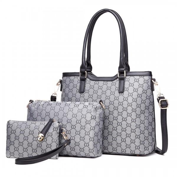 LT1749 GY - Lulu desanimantes Piece Shoulder Bag And Three Tote Clutch Grey