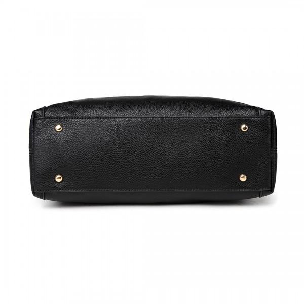 LT1753 BK - Miss Lulu PU Leather Large Hobo Shoulder Bag Black