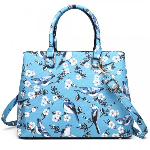 LT1755-16J BE - Miss Lulu Matte Bird Print  tarpaulin Tote Handbag Blue
