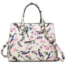 LT1755-16J BG - Miss Lulu Matte Bird Print  tarpaulin Tote Handbag Beige