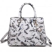 LT1755-16J GY - Miss Lulu Matte Bird Print  tarpaulin Tote Handbag Grey