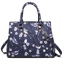 LT1755-16J NY - Miss Lulu Matte Bird Print  tarpaulin Tote Handbag Navy