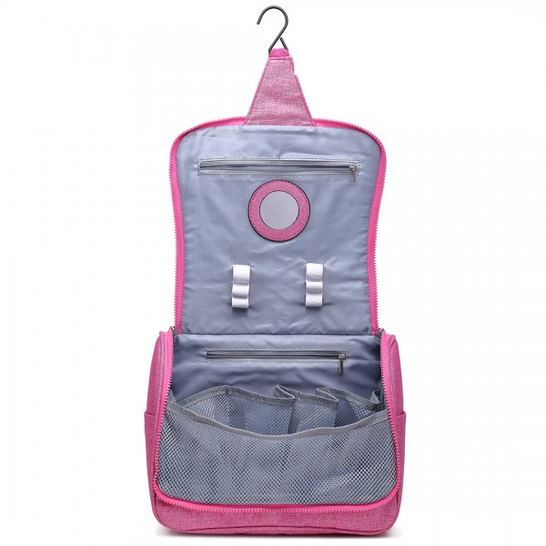 LT1757-D PK - Miss Lulu Toiletry Travel Bags Plain Print Pink