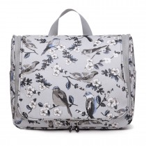 LT1757-16J GY - Miss Lulu Toiletry Travel Bags Bird Print Grey