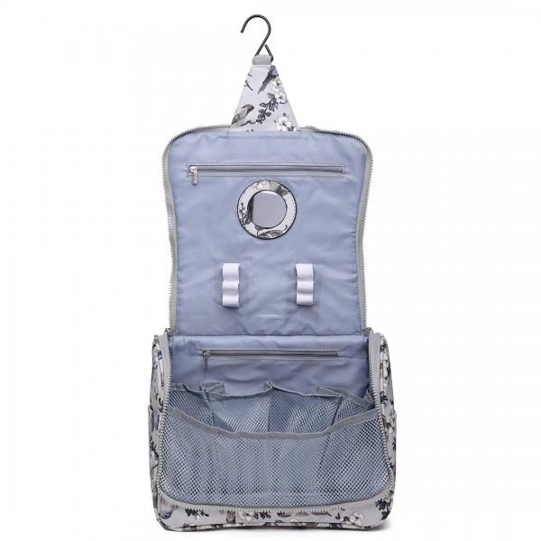 LT1757-16J GY - Miss Lulu Toiletry Travel Bags Bird Print Grey