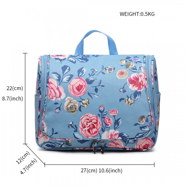 LT1757-17F BE - Miss Lulu Toiletry Travel Bags Flower Print Blue