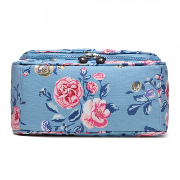LT1757-17F BE - Miss Lulu Toiletry Travel Bags Flower Print Blue