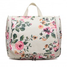 LT1757-17F BG - Miss Lulu Toiletry Travel Bags Floral Print Beige