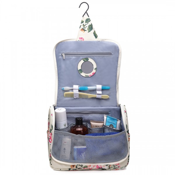 LT1757-17F BG - Miss Lulu Toiletry Travel Bags Floral Print Beige