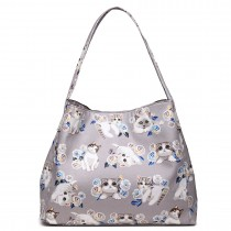 LT1758-17CT Miss Lulu Matte Oilcloth Cat Print Handbag Grey