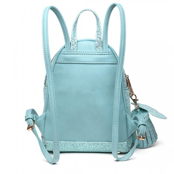 LT1763 BE - Miss Lulu Glittering Fashion Small Backpack Blue