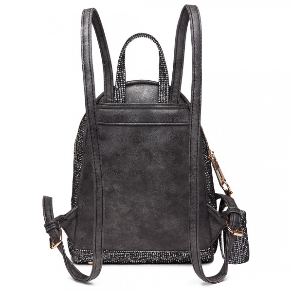 LT1763 BK - Miss Lulu Glittering Fashion Small Backpack Black