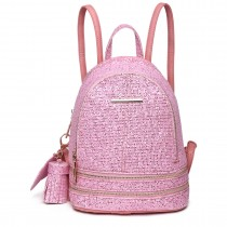 LT1763 PK - Miss Lulu Glittering Fashion Small Backpack Pink