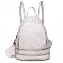 LT1763 WE - Miss Lulu PU Leder mit vergoldeten Perlen Small Fashion Rucksack Weiß