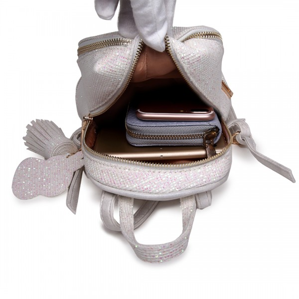 LT1763 BG - Miss Lulu Glittering Fashion Small Backpack Beige