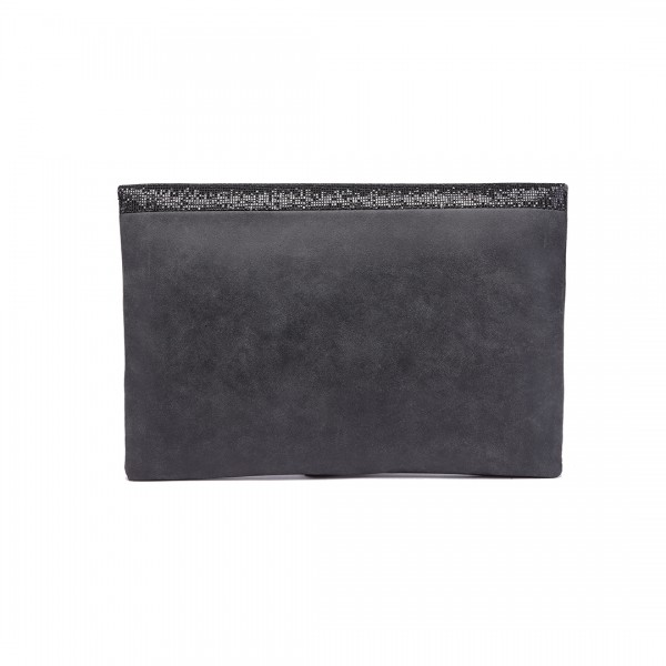 LT1764 BK - Miss Lulu Glitter Fold Over Clutch Bag Black