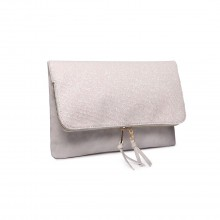 LT1764 BG - Miss Lulu Glitter Fold Over Clutch Bag Beige