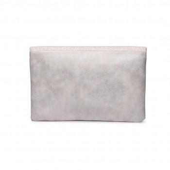LT1764 BG - Miss Lulu Glitter Fold Over Clutch Bag Beige