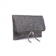 LT1764 M BK - Miss Lulu Glitter Fold Over Clutch Bag Dark Grey