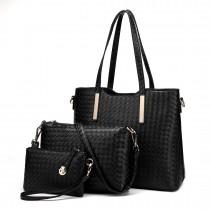 LT1766 Miss LULU PU Leather Texture Handbag 3Pcs Set  Black