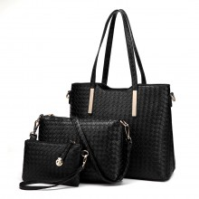 LT1766 Miss LULU PU Leather Texture Handbag 3Pcs Set  Black