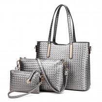 LT1766 Miss LuLu PU Leather Texture Handbag 3Pcs Set Grey