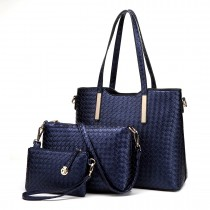 LT1766 Miss LULU PU Leather Texture Handbag 3Pcs Set Navy