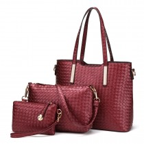 LT1766 Miss LULU PU Leather Texture Handbag 3Pcs Set Red
