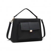 LT1770- Miss Lulu PU Leather Front Pocket Handbag Black