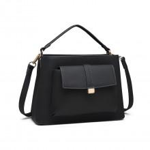LT1770 - Miss Lulu PU Leather Front Pocket Handbag Black