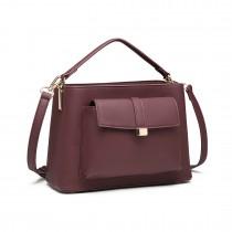 LT1770  - Miss Lulu PU Leather Front Pocket Handbag Claret