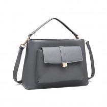 LT1770 - Miss Lulu PU Leather Front Pocket Handbag Grey