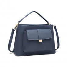 LT1770 - Miss Lulu PU Leather Front Pocket Handbag Navy