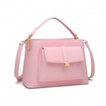 LT1770 - Miss Lulu PU Leather Front Pocket Handbag Pink