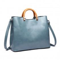 LT1808 BE- Miss Lulu PU Leather Wooden Handle Tote Handbags Blue