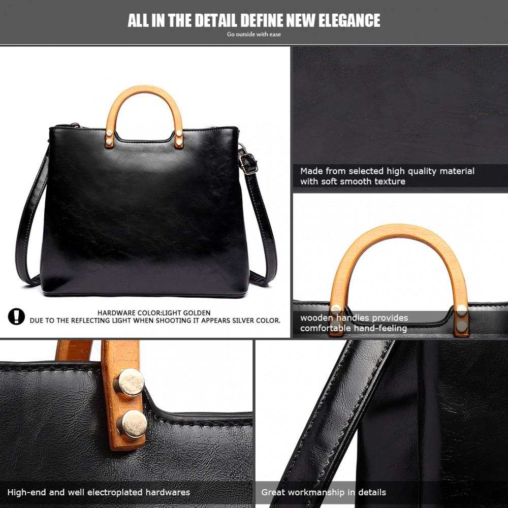 4336a84feb LT1808 BK- Miss Lulu Sac à main en cuir PU simple mode épaule / fourre-tout  noir