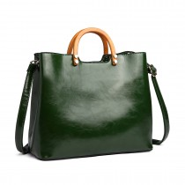 LT1808 GN- Miss Lulu PU Leather Wooden Handle Tote Handbags Green