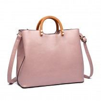 LT1808 PK- Miss Lulu PU Leather Wooden Handle Tote Handbags Pink