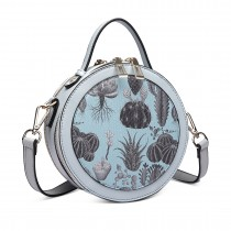 LT1810 BE Miss Lulu PU Leather Round Zip Cross Body Printed Bag Blue