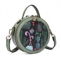LT1810 BK/GN Miss Lulu PU Leather Round Zip Cross Body Printed Bag Black/Green