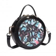 LT1810 BK Miss Lulu Damen Crossbody Bag Printing Handtaschen Runde Umhängetasche Schwarz