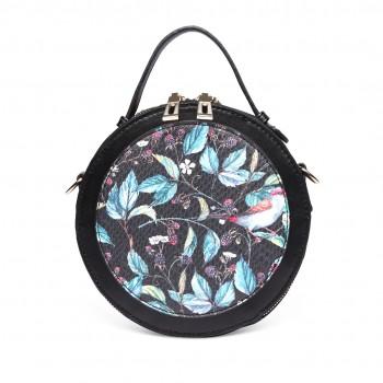 LT1810 BK Miss Lulu PU Leather Round Zip Cross Body Printed Bag Black