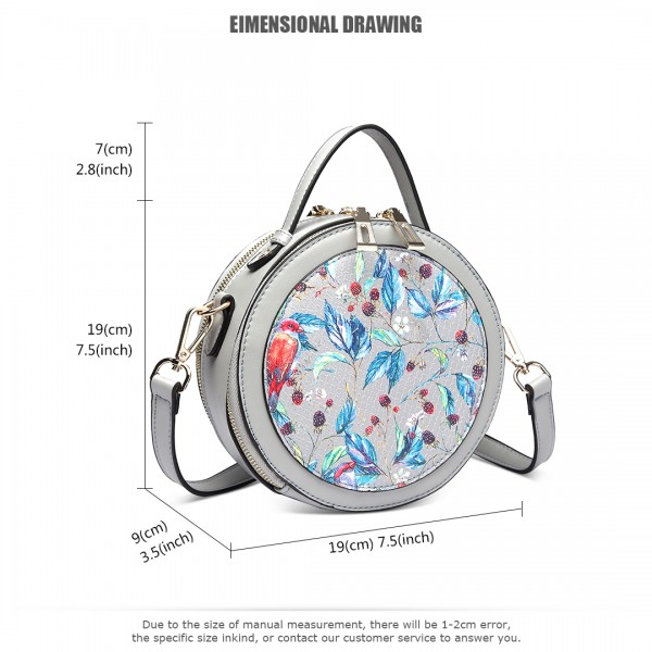 LT1810 GY Miss Lulu PU Leather Round Zip Cross Body Printed Bag Grey