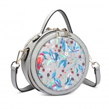 LT1810 GY Miss Lulu PU Leather Round Zip Cross Body Printed Bag Grey