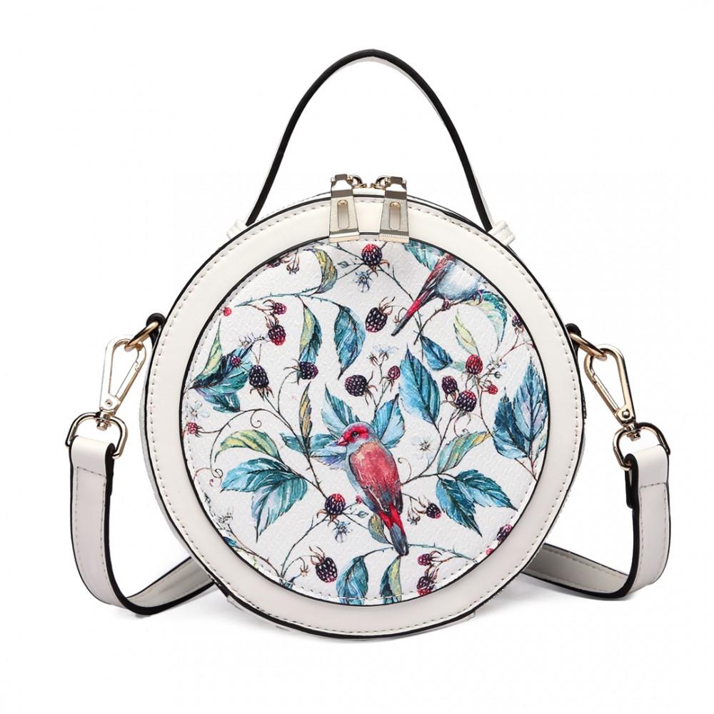 aae7796c05 LT1810 WE Miss Lulu Mesdames sac à bandoulière impression sacs à main sac à bandoulière  rond blanc