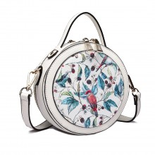 LT1810 WE Miss Lulu Damen Crossbody Tasche Printing Handtaschen Runde Umhängetasche Weiß