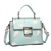 LT1814 GN -Miss Lulu Flamingo Printed Crossbody Handbag Green